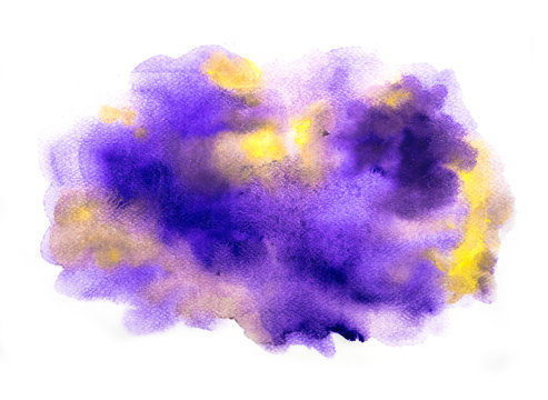 Abstract purple and yellow watercolor on white background, abstract watercolor background, vector illustration