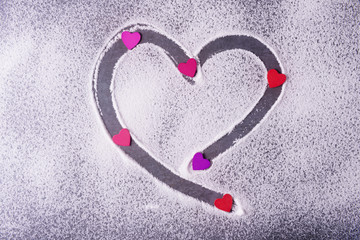 Valentines day concept with red, pink and violet  hearts
