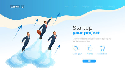 Isometric Businnes Start Up for web page, banner, presentation, social media concept landing page design. Income and Success. Vector Business illustration