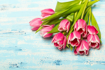 Pink tulip bouquet on blue wooden background, copy space. Beautiful flowers