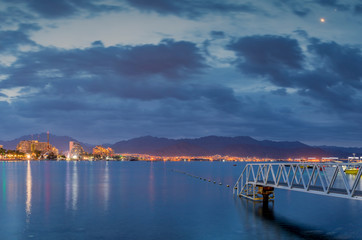 Early morning on the central beach of Eilat - famous tourist resort and recreational city in Israel
