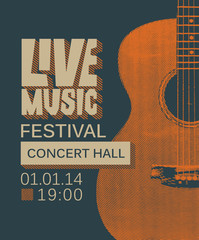 Vector banner or poster for live music festival with guitar in retro style on the dark background