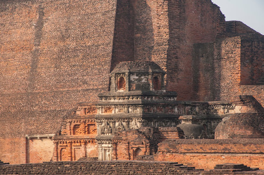 NALANDA, BIHAR, INDIA Ruins of the ancient Buddhist monastery Mahavihara , which was also a leading teaching institution under the Gupta Empire during the 5. and 6. century