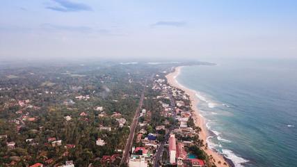 Ocean coast in Sri Lanka from the height of bird flight