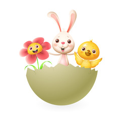 Bunny chicken and flower celebrate Easter in hatched egg - vector illustration isolated on white background