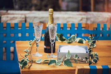 Wedding glasses and wedding decoration