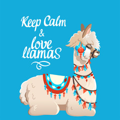 Illustration with llama and cactus plants. Vector seamless pattern on blue background. Greeting card with Alpaca.