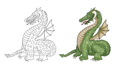 Vector cartoon funny dragon with horns and wings sticking out tongue