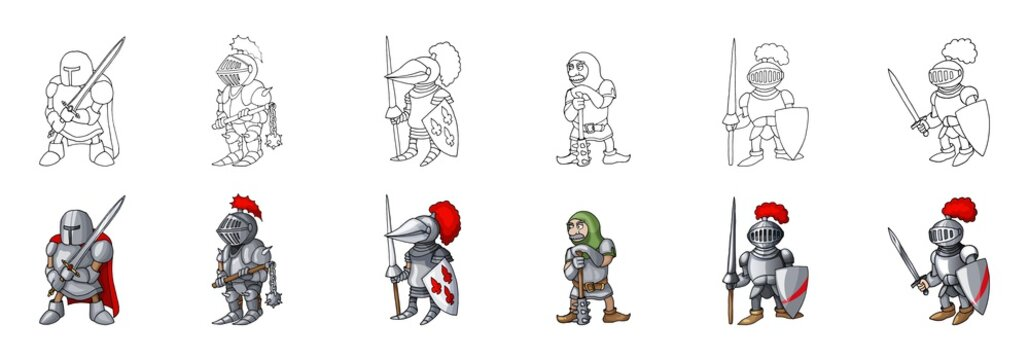 Set of medieval knight characters cartoon style vector illustration