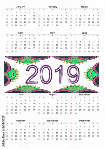 Photosi Calendario.Calendario Anual 2019 Diseno Mexicano Stock Photo And