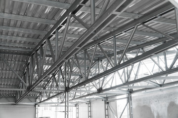 modern building roof construction urban background metal lines