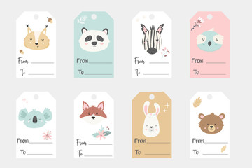 Big set of tags and labels with hand drawn animals