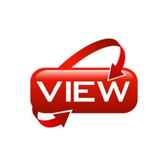Lettering view button icon with round arrow red color