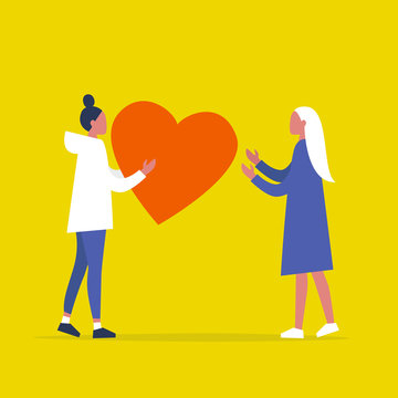 Saint Valentines Day. Lesbian couple. LGBTQ. One young female character sending a big red heart to another. Relationships. Love. Romance. Emotions. Flat editable vector illustration, clip art