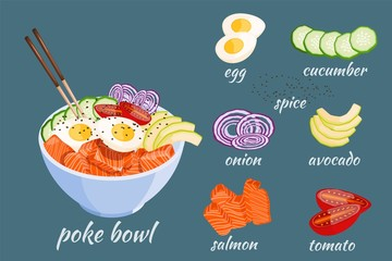 Isometric White round poke bowl with salmon, avocado, rice and onion ring, tomato on a white background. Trend Hawaiian food. Vector illustration of healthy food.