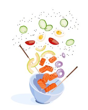 White round poke bowl with flying products: salmon, avocado, rice and onion ring, tomato on a white background. Trend Hawaiian food. Vector illustration of healthy food.