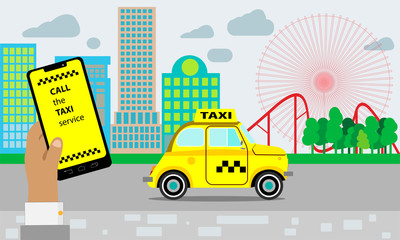 Taxi service. Yellow taxi cab. Hands with smartphone and taxi application, city silhouette with skyscrapers and tower, sky with clouds.