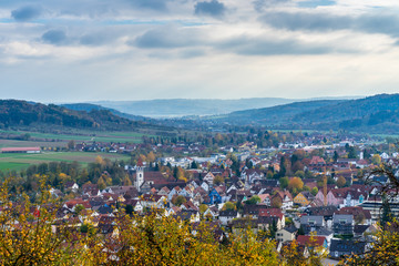 Germany, Dreamy houses of village of rudersberg from above