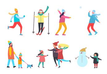 Winter Activity People Seasonal Hobby Set Vector