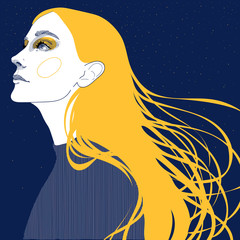 vector of a blonde girl with golden hair, face in profile, against a night starry sky