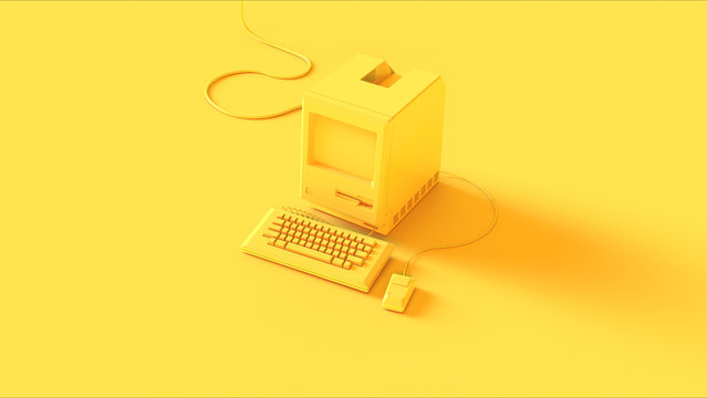 Yellow Vintage Computer Keyboard and Mouse 3d illustration 3d render