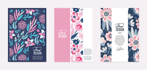 Set of vector templates. Hand drawn abstract flowers with different textures. Floral composition. It can be used as book, notebook or magazine cover, brochure, booklet, annual report, flyer, poster