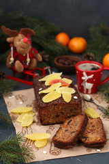 Christmas fruitcake with candied fruits and dried fruit