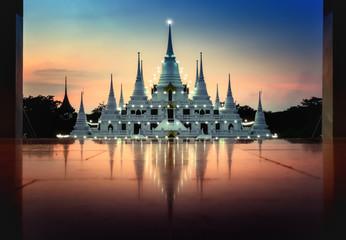 Pagoda Asokaram temple at twilight time Smutprakan Province Thailand