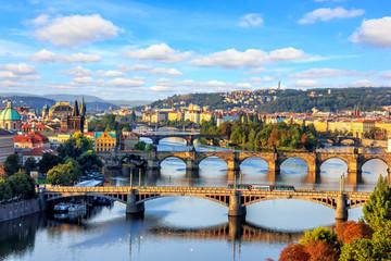 Aluminium Prints Prague Charles bridge and other Prague bridges over the Vltava river, b