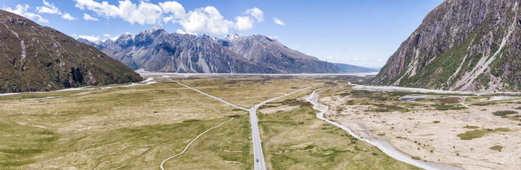 Mount Cook Road drone aereo view, New Zealand, South Island, NZ