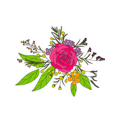 contour a bouquet of flowers. Flower arrangement