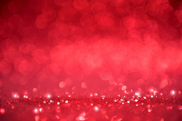 Red romantic glitter bokeh valentines abstract background. copy space.