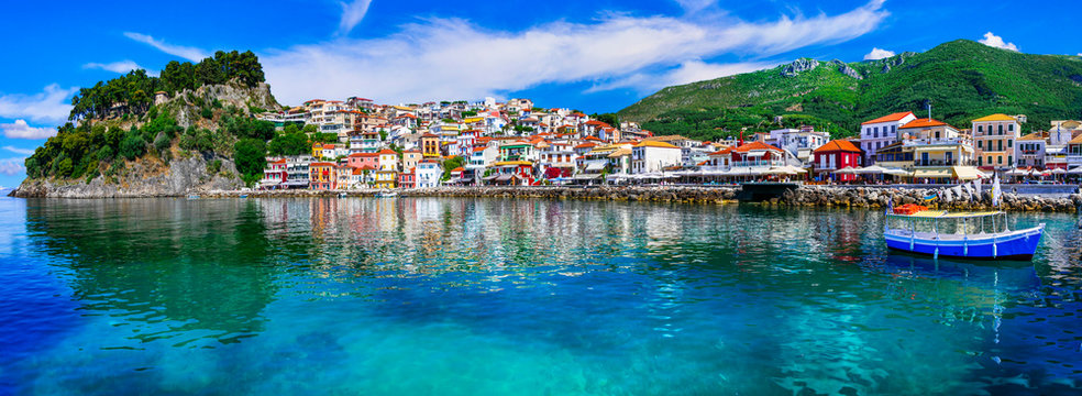 Colorful Greece - beautiful coastal town Parga. Greek holidays