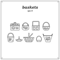 Collection of various baskets. Wicker empty baskets. Linear style