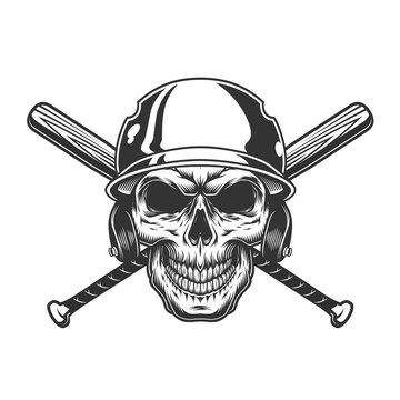 Vintage monochrome skull in baseball helmet