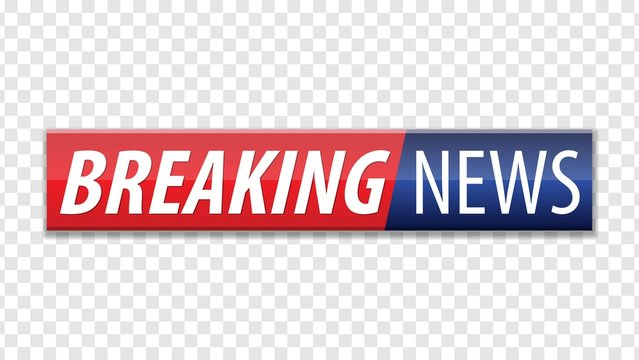 Breaking news. Red blue banner with white text isolated on transparent background. Vector illustration.