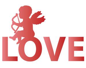 Valentine-Cupid Sitting on Love