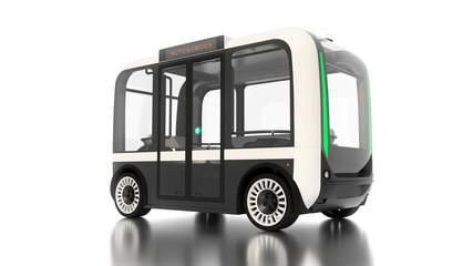 Autonomous Vehicle generic bus on white background 3D illustration