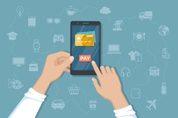 Mobile Payment for goods, services, shopping using smartphone. Online banking, pay with phone. Credit card on screen, button pay, smartphone in man hands. Vector illustration