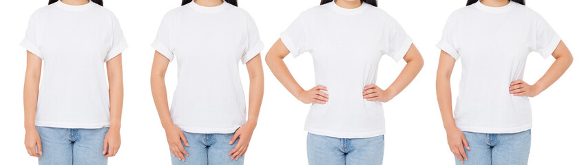 brunette in t shirt isolated on white, woman in t-shirt set or collage, three girl tshirt front view