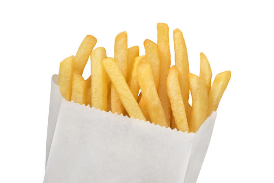 French fries on white paper bag
