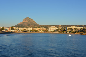 view of the Arenal beach and Montgo mountain in Javea on the Costa Blanca, Spain
