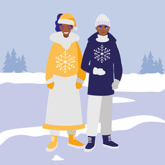young couple black with winter clothes