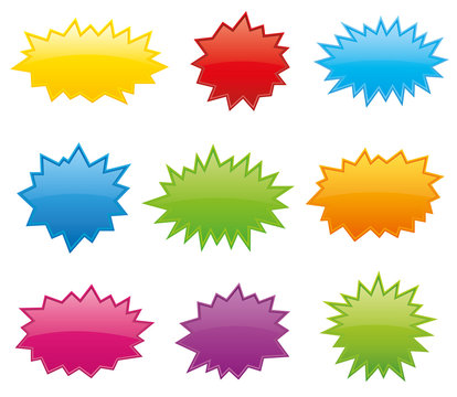 Starburst coloured speech bubbles collection vector
