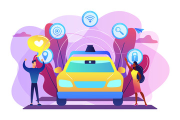 Businessman likes autonomous driverless car with smart technology icons. Autonomous driving, self-driving car, future transport system concept. Bright vibrant violet vector isolated illustration