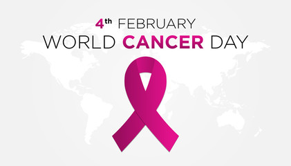 World Cancer Day Illustration with Ribbon