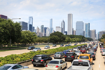 Printed roller blinds Chicago Cars driving on Lake Shore Drive with downtown Chicago shown in the background