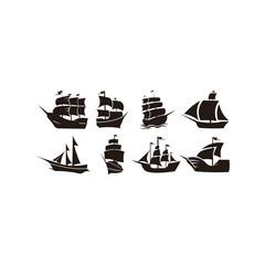 Sailing Yacht Logo design template,sailboat,Flat yacht icons. Boat logo on white background.