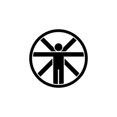 Symbol of Vitruvian Man Thin line Icon of Icons Of Biochemistry And Genetics Icon. Stroke Pictogram Graphic for Web Design. Quality Outline Vector Symbol Concept.