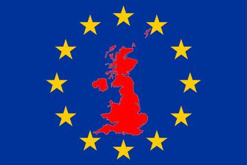 Brexit Grossbritannienkarte mit Europasternen Kreis
